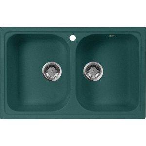 Кухонная мойка AquaGranitEx M-15 775х495 зеленый (M-15 (305)) мойка кухонная aquagranitex m 17 420х485 серый m 17 310