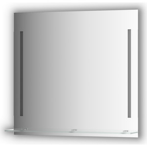 Зеркало с полочкой Evoform Ledline-S с 2-мя светильниками 11 W 80x75 см (BY 2164) зеркало evoform ledline 100х75 см со встроенным led светильником 7 w by 2107