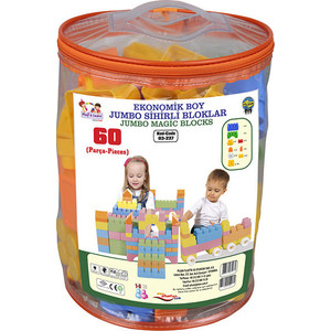 Конструктор Pilsan Jumbo Magic Blocks 60 деталей в ведре (03-227) цена и фото