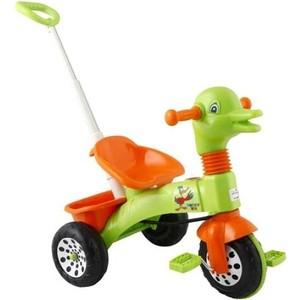 Трехколесный велосипед Pilsan Ducky с родительской ручкой цвет зелено-оранжевый (07-141) грузовик pilsan delta truck цвет зеленый 06 506