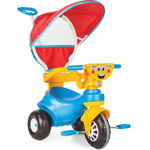 Трехколесный велосипед Pilsan Happy с родительской ручкой цвет сине-желтый (07-161) грузовик pilsan delta truck цвет зеленый 06 506