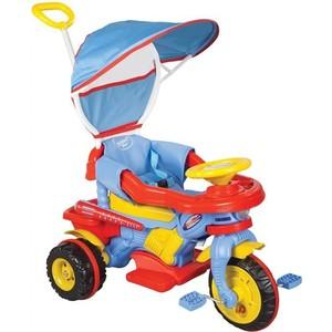 Трехколесный велосипед Pilsan Maxi с родительской ручкой цвет красно-сине-желтый (07-134)