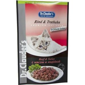 Паучи Dr.Clauder's Beef & Turkey in Sauce с мясом и индейкой кусочки в соусе для кошек 100г
