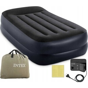 Надувная кровать Intex 64122 Pillow Rest Raised Bed 99х191х42см с подголовником, встроенный насос 220V carking cs 30 flag patterned vehicle car seat head neck rest pillow white grey 2pcs