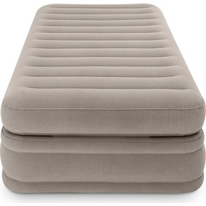Надувная кровать Intex 64444 Prime Comfort Elevated Airbed 99х191х51см, встроенный насос 220V надувная кровать bestway 67486 foamtop comfort raised airbed queen 203х152х46см со встроенным насосом мягкий верх