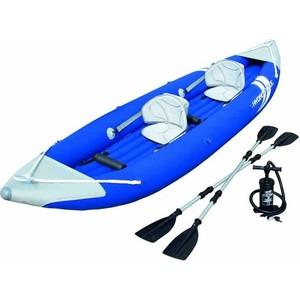 Байдарка Bestway 65061 надувна двухместна Bolt X2 Kayak 385х93 см с вёслами и насосом от ТЕХПОРТ