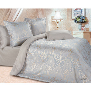 Комплект постельного белья Ecotex 2-х сп, сатин-жаккард, Глейс (КЭМГлейс) комплект постельного белья ecotex 2 х сп сатин жаккард летний сад кэмлетний сад