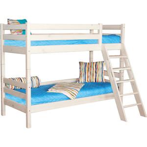 Детская двухъярусная кровать Мебельград Соня с наклонной лестницей, вариант 10 кровать двухъярусная с лестницей с ящиками прованс