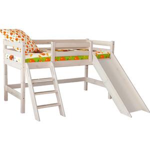 Детская кровать Мебельград Соня с наклонной лестницей и горкой, вариант 14