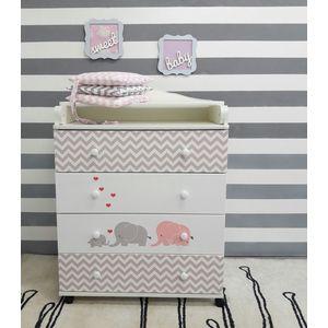 Фотография товара by Twinz Пеленальный комод Мэри серый/розовый (663326)