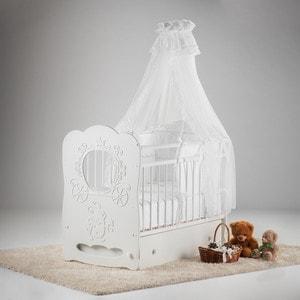 цены Островок уюта Кровать детская Карета (белый) маятник поперечный с ящиком