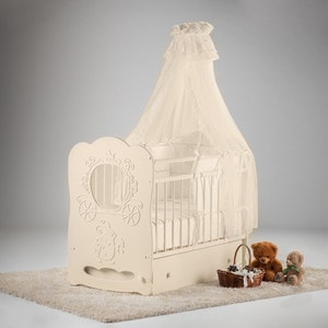 Фотография товара островок уюта Кровать детская Карета (слоновая кость) маятник поперечный с ящиком (663368)