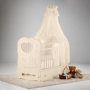 кровать маятник мой малыш 12 продольное качание ящик спинка оргстекло рисунок накладка слоновая кость Островок уюта Кровать детская Слоненок (слоновая кость) маятник поперечный с ящиком