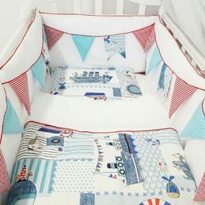 Комплект в кроватку By Twinz 6 пр. Морская история КЛАССИКА by twinz комплект в кроватку 6 пр джунгли классика