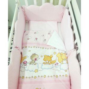 Комплект в кроватку By Twinz 6 пр. Облачка КЛАССИКА розовый by twinz комплект в кроватку 6 пр джунгли классика
