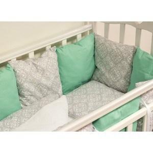 Комплект в кроватку с бортиками-подушками By Twinz 6 пр. Дамаск (мята) bytwinz комплект в кроватку 6 предметов by twinz морской бриз