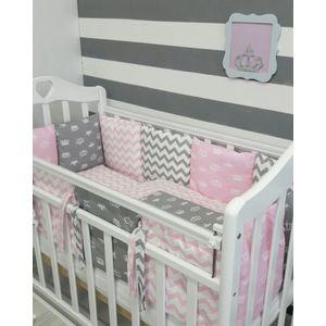 Комплект в кроватку с бортиками-подушками By Twinz 6 пр. Короны розовые