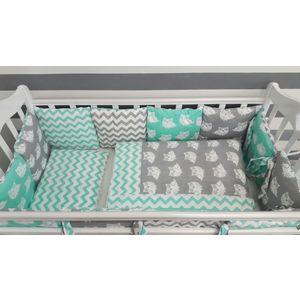 Комплект в кроватку с бортиками-подушками By Twinz 6 пр. Совята мятные цена