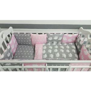 Комплект в кроватку с бортиками-подушками By Twinz 6 пр. Совята розовые цена