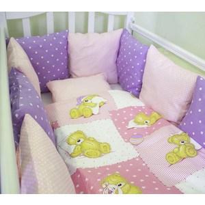 Комплект в кроватку с бортиками-подушками By Twinz 6 пр. Тедди (розовые) bytwinz комплект в кроватку 6 предметов by twinz морской бриз
