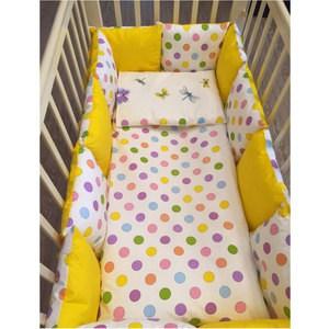 Фотография товара by Twinz Комплект в кроватку с бортиками-подушками 6 пр. Яркий горох (663647)
