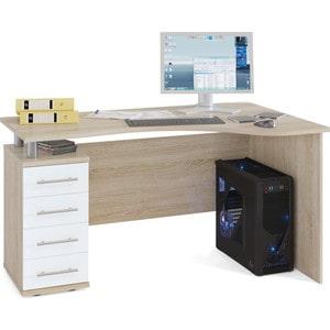 Стол компьютерный СОКОЛ КСТ-104.1 дуб сонома/белый левый стол компьютерный сокол кст 104 1 испанский орех правый