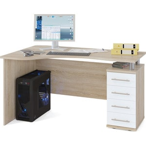 Стол компьютерный СОКОЛ КСТ-104.1 дуб сонома/белый правый стол компьютерный сокол кст 104 1 испанский орех правый