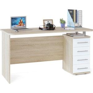 Стол компьютерный СОКОЛ КСТ-105.1 дуб сонома/белый комплект офисной мебели сокол сокол р белый