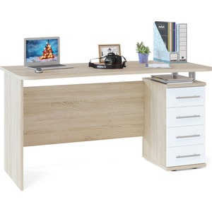 Стол компьютерный СОКОЛ КСТ-105.1 дуб сонома/белый компьютерный стол сокол кст 109 дуб сонома белый левый