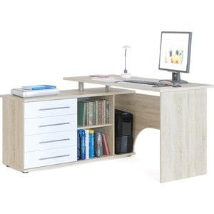 Стол компьютерный СОКОЛ КСТ-109Л дуб сонома/белый компьютерный стол с тумбой кст 109