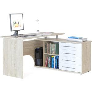 Стол компьютерный СОКОЛ КСТ-109П дуб сонома/белый компьютерный стол с тумбой кст 109