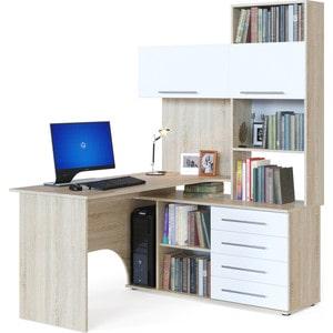 Стол компьютерный СОКОЛ КСТ-14П дуб сонома/белый правый компьютерный стол сокол кст 103 испанский орех