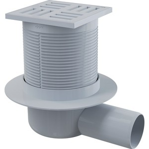 Душевой трап AlcaPlast 105х105/50, подводка - боковая, гидрозатвор - мокрый (APV5111)