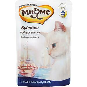 Паучи Мнямс Буйабес по-Марсельски с рыбой и морепродуктами 85г мнямс консервы пауч с рыбой и морепродуктами буйабес по марсельски для кошек 85 г