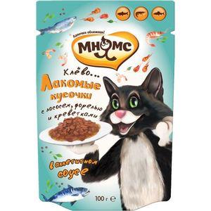Паучи Мнямс Лакомые кусочки с лососем, форелью и креветками в аппетитном соусе для кошек 100г цена