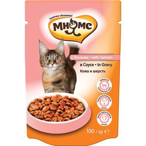 Паучи Мнямс with Salmon in Gravy кусочки с лососем в соусе кожа и шерсть для кошек 100г