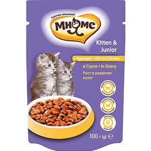 Паучи Мнямс Kitten & Junior Rich in Chicken in Gravy кусочки с курицей в соусе рост и развитие для котят 100г