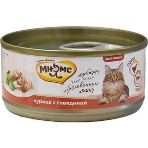 Консервы Мнямс Курица с говядиной в нежном желе для кошек 70г купить болгарские консервы в москве