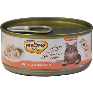 Консервы Мнямс Курица с лососем в нежном желе для кошек 70г купить болгарские консервы в москве