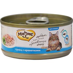 Консервы Мнямс Тунец с креветками в нежном желе для кошек 70г корм для кошек мнямс тунец с курицей в нежном желе конс 70г