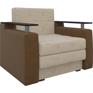 Кресло-кровать АртМебель Комфорт микровельвет бежево-коричневый кресло кровать классика коричневый page 8