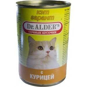 Консервы Dr.ALDER's Кэт гарант сочные кусочки с курицей для кошек 415г (1906)