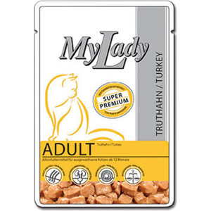 Паучи Dr.ALDER's MyLady Super Premium Adult Turkey с индейкой для кошек 85г (400776)