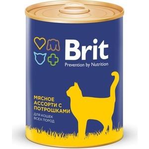 Консервы Brit Premium Cat Beef & Offal мясное ассорти с потрошками для взрослых кошек 340г (9433) brit brit premium beef stew