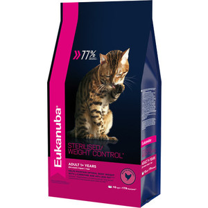Сухой корм Eukanuba Adult Cat Sterilised / Weight Control Rich in Poultry с домашней птицей для стерилизованных и с избыточным весом кошек 10кг fashion 2018 spring autumn children boys girls clothes kids zipper jacket t shirt pants 3pcs sets baby clothing sets tracksuits