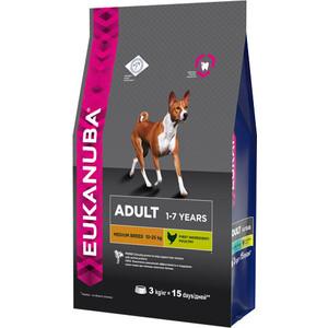 Сухой корм Eukanuba Adult Dog Medium Breed Rich in Chicken с курицей для взрослых собак средних пород 3кг корм сухой для щенков средних пород eukanuba puppy medium breed