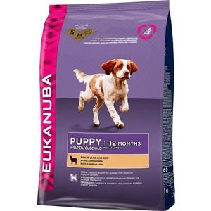 Фотография товара сухой корм Eukanuba Puppy Rich in Lamb and Rice с ягненком и рисом для щенков с чувствительным пищеварением 12кг (669282)