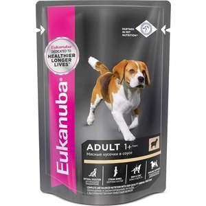 Паучи Eukanuba Adult Dog with Lamb с ягненком мясные кусочки в соусе для собак 100г