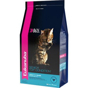 Сухой корм Eukanuba Senior Cat Top Condition Rich in Poultry с домашней птицей для кошек старше 7лет 2кг eukanuba eukanuba adult cat 1 years with salmon
