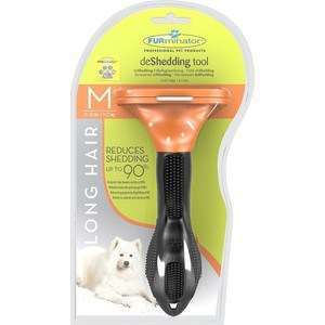 Фурминатор FURminator deShedding Tool Long Hair M Medium Dog для длинношерстных собак средних пород 7см furminator brush comb pet deshedding tool for medium dog cat